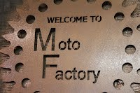Copper Patina Welcome Sign for Moto Factory